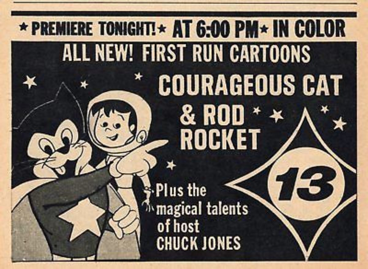 Local newspaper advertisement for Rod Rocket, alongside Bob Kane's Courageous Cat