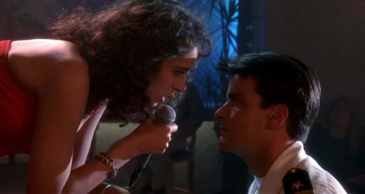 Golino and Sheen's chemistry might be played for laughs but their improbable romance apes similar scenes in 'Top Gun'.
