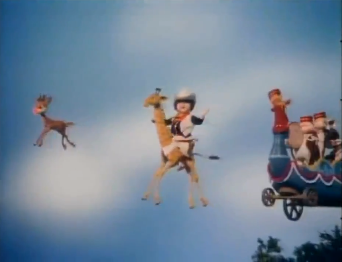 Rudolph leading the flying circus.