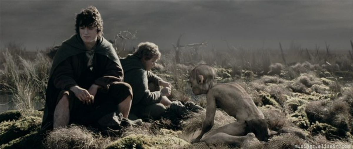 """Frodo, Sam and Gollum make their way through the Dead Marshes in """"The Lord Of The Rings: The Two Towers"""""""