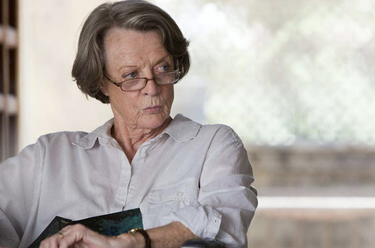 "Maggie Smith plays against type as a woman of prejudice in ""The Best Exotic Marigold Hotel"""