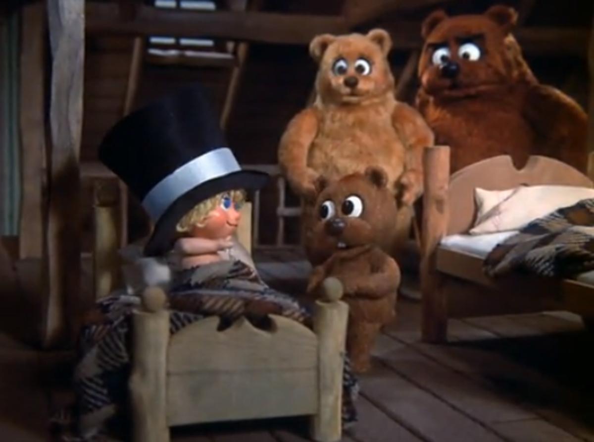 Happy awakened by the Three Bears