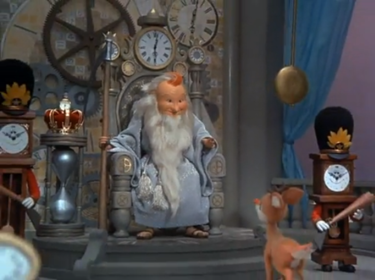 Father Time tells Rudolph about the missing baby New Year, Happy.