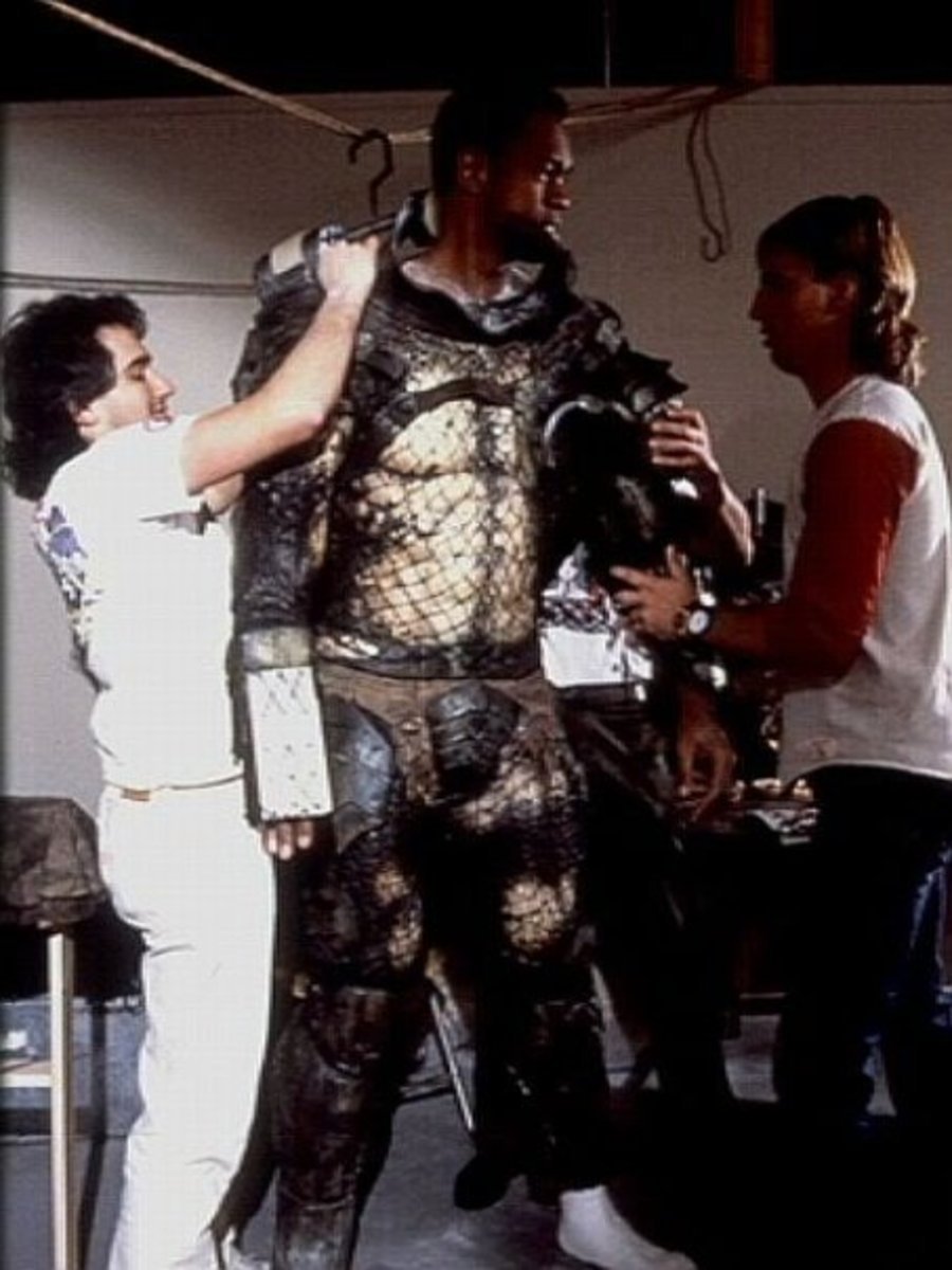 Kevin Peter Hall, getting suited up as the Predator