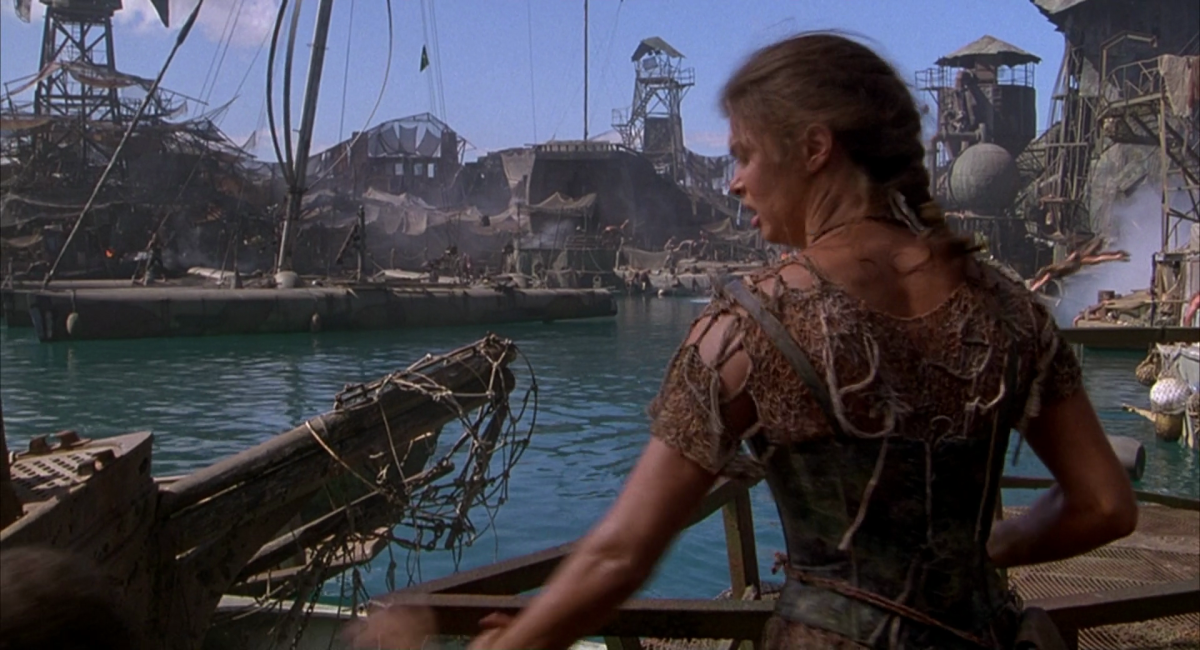 With enormous floating sets reminiscent of 'Mad Max', the film remains a jaw-dropping spectacle.