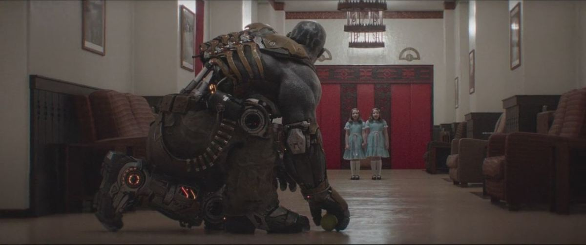 The film does a fantastic job of combining CG and live-action footage from various sources from video game characters to Kubrick's 'The Shining'.