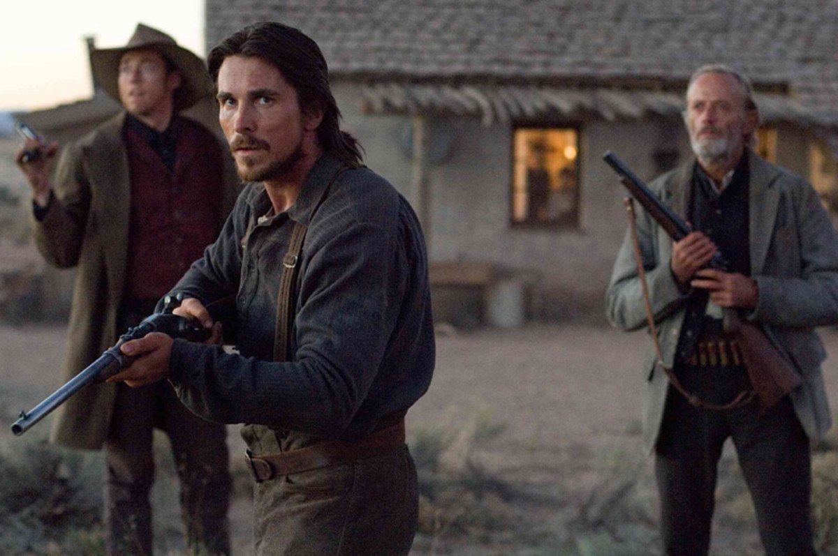 Bale (centre) is every bit as good as Crowe and together, they make the movie a gripping western revival.