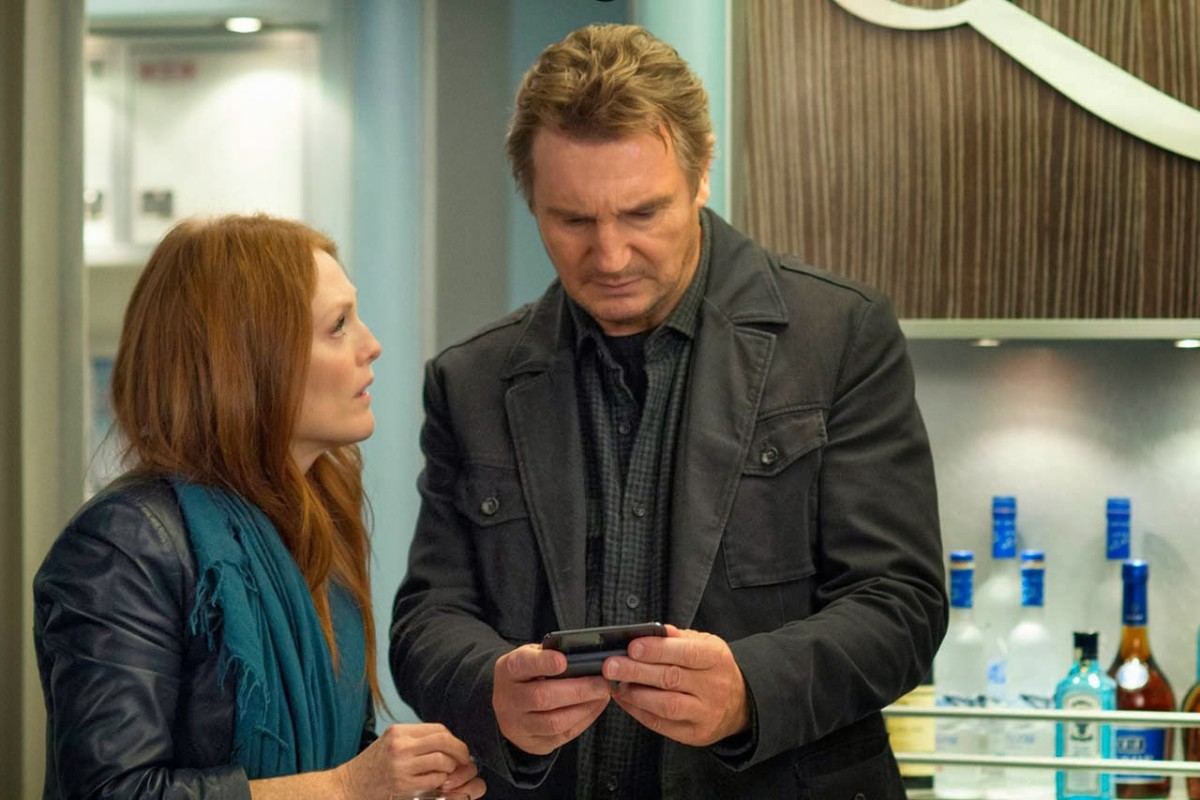 "Julianne Moore and Liam Neeson in ""Non-Stop"""
