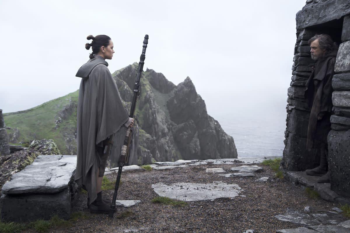 Rey finally meets her Jedi mentor Luke Skywalker.
