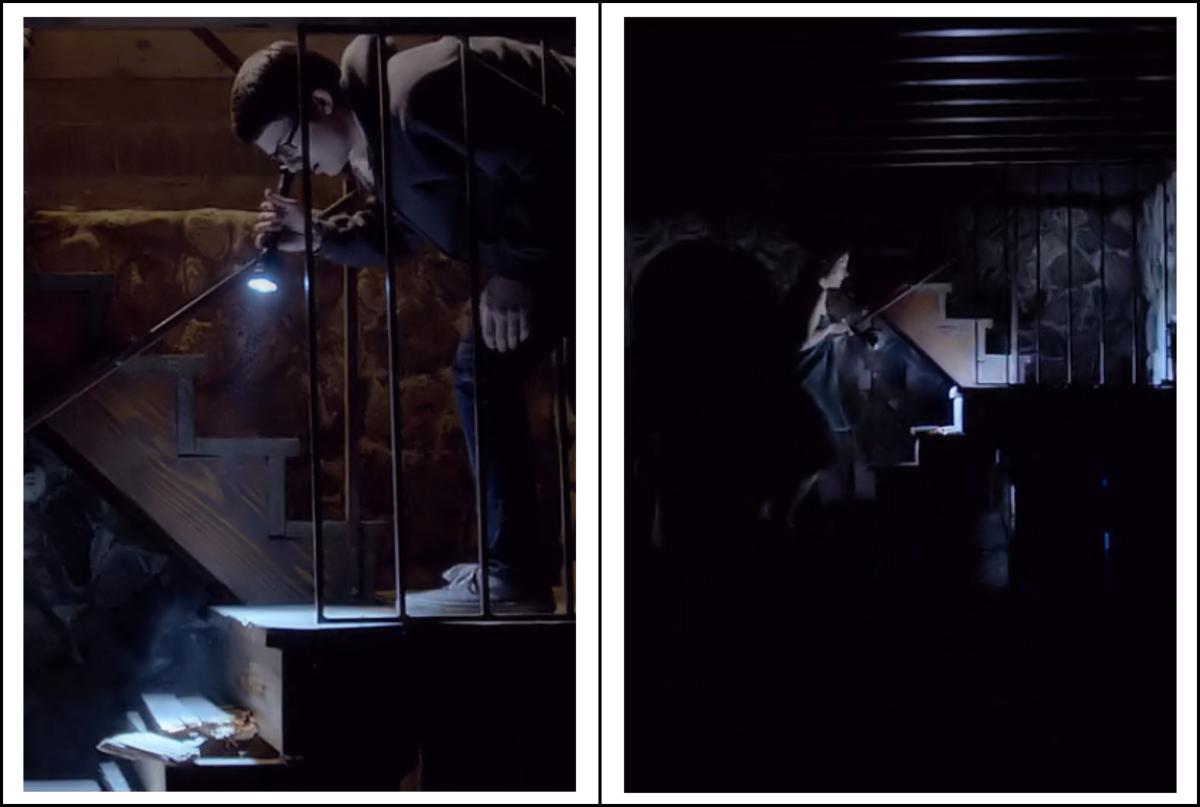 View of the broken stairs in 'The Open House' (2018), a Netflix Original.