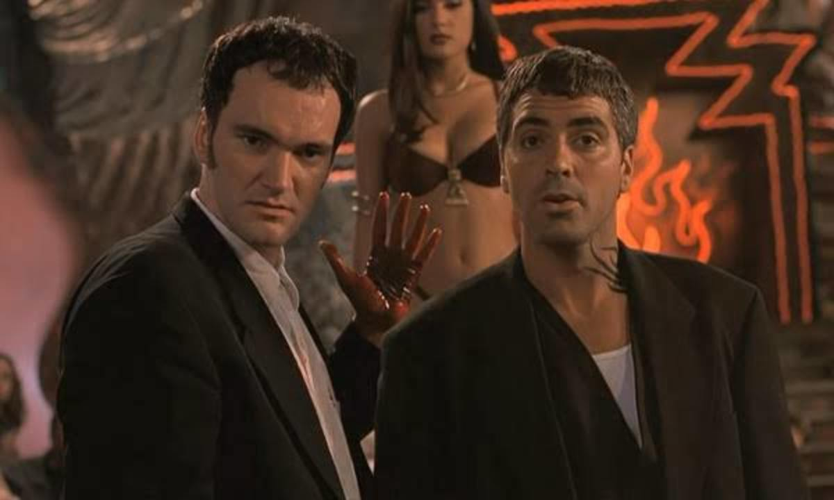 Tarantino (left) and Clonney (right) exemplify the movie's unhinged B-movie credentials, making the film feel as though something isn't quite right somehow.