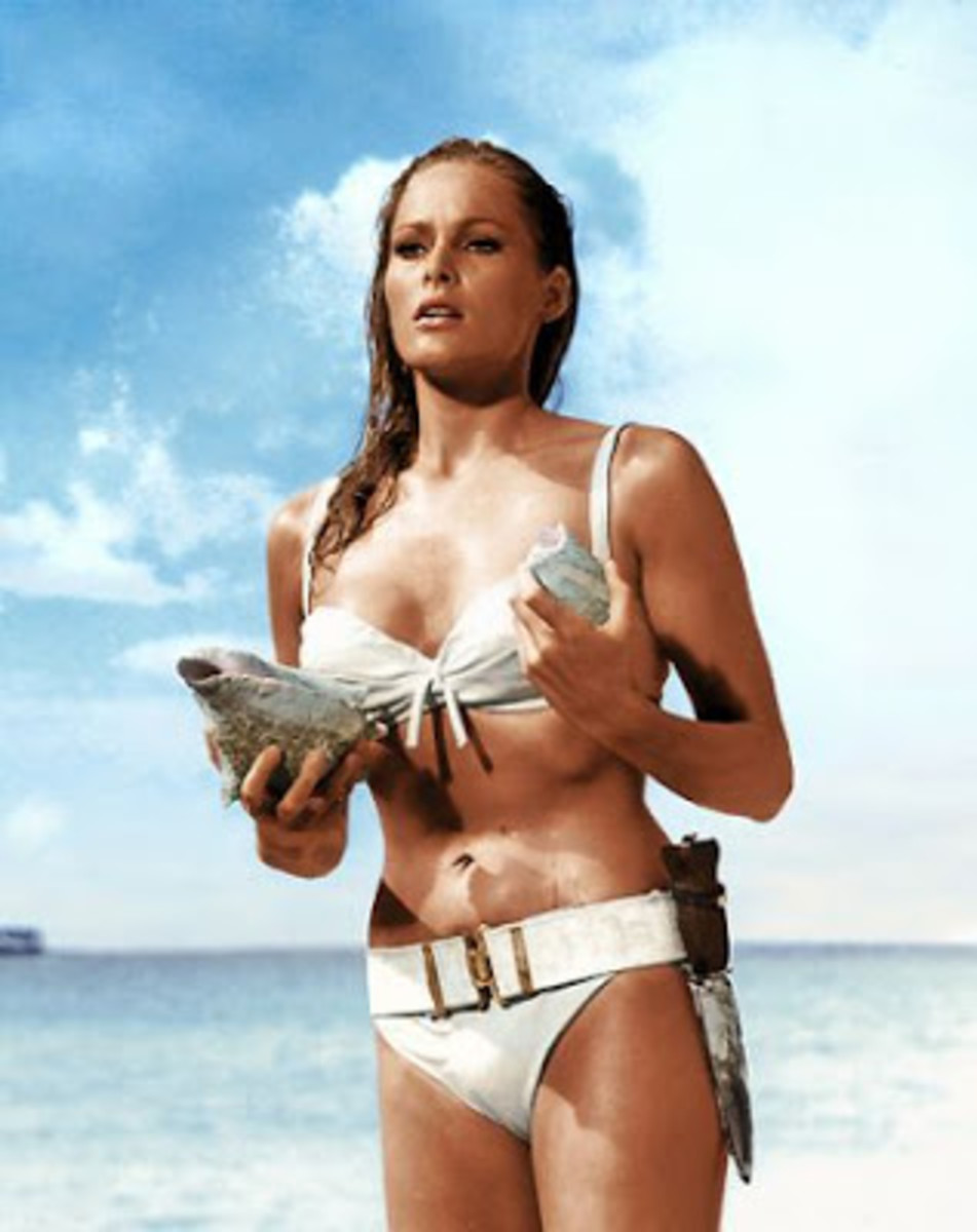 """Ursula Andress steps out of the sea and into Bond legend in """"Dr No"""""""