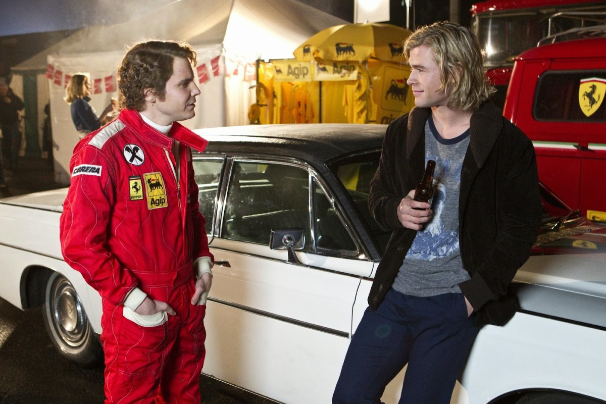 Not only do the performances of Brühl (left) and Hemsworth (right) elevate the film's depth of realism but also exemplify the fire-and-ice relationship between Lauda & Hunt.