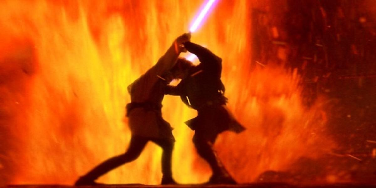 Anakin Skywalker and Obi-Wan Kenobi's climactic battle on Mustafar.
