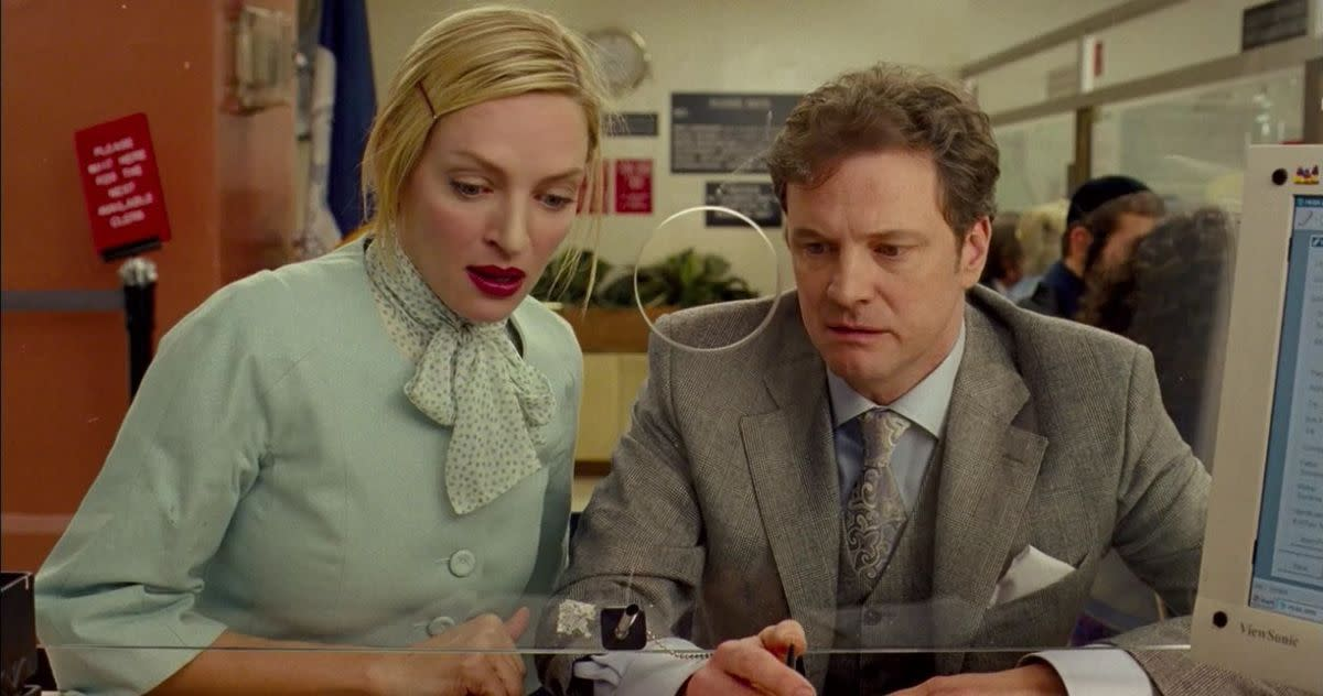 Firth (right) is a veteran of rom-coms but even he struggles to convince in this woefully ill-thought-out mess.