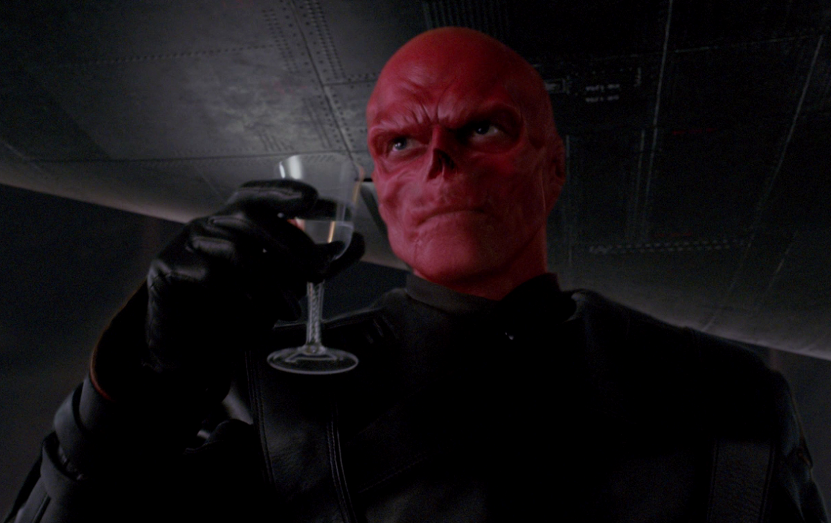 Hugo Weaving playing the Red Skull.