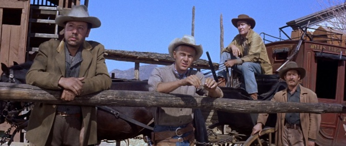 McQueen (centre) also became a major star after the film, thanks to his natural charisma and habit of upstaging Brynner.