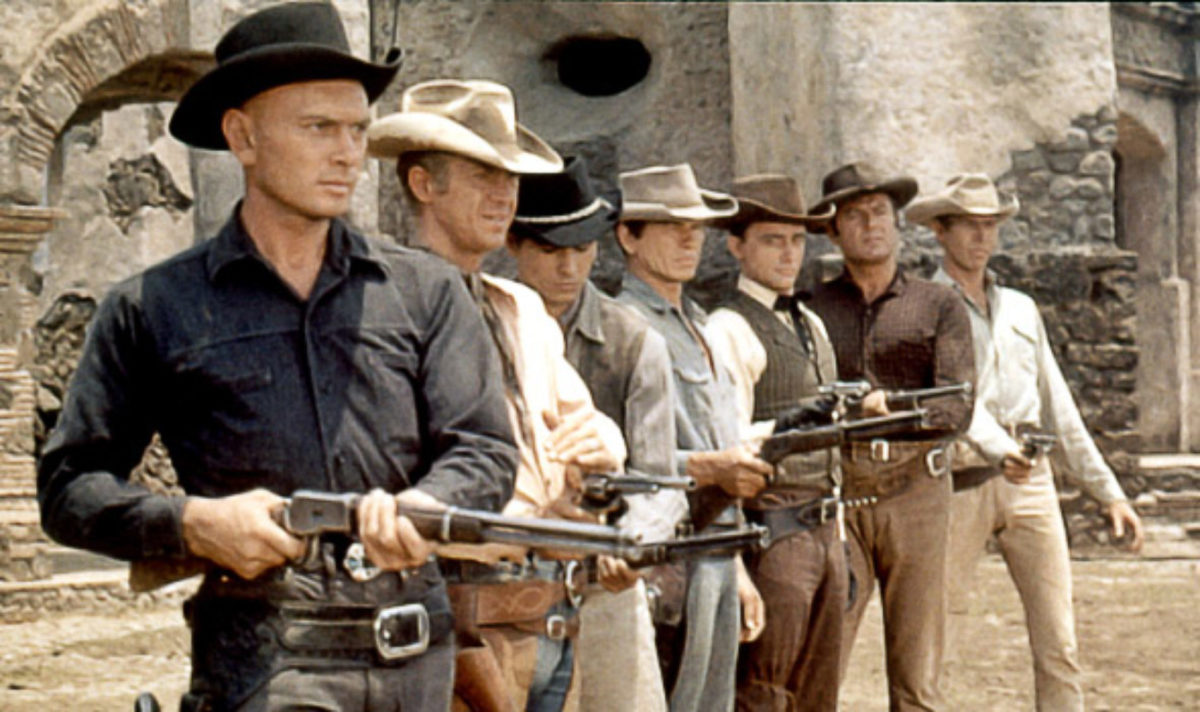Brynner (left) leads an all-star cast in this classic Western, one which cemented his status as a leading man in Hollywood.