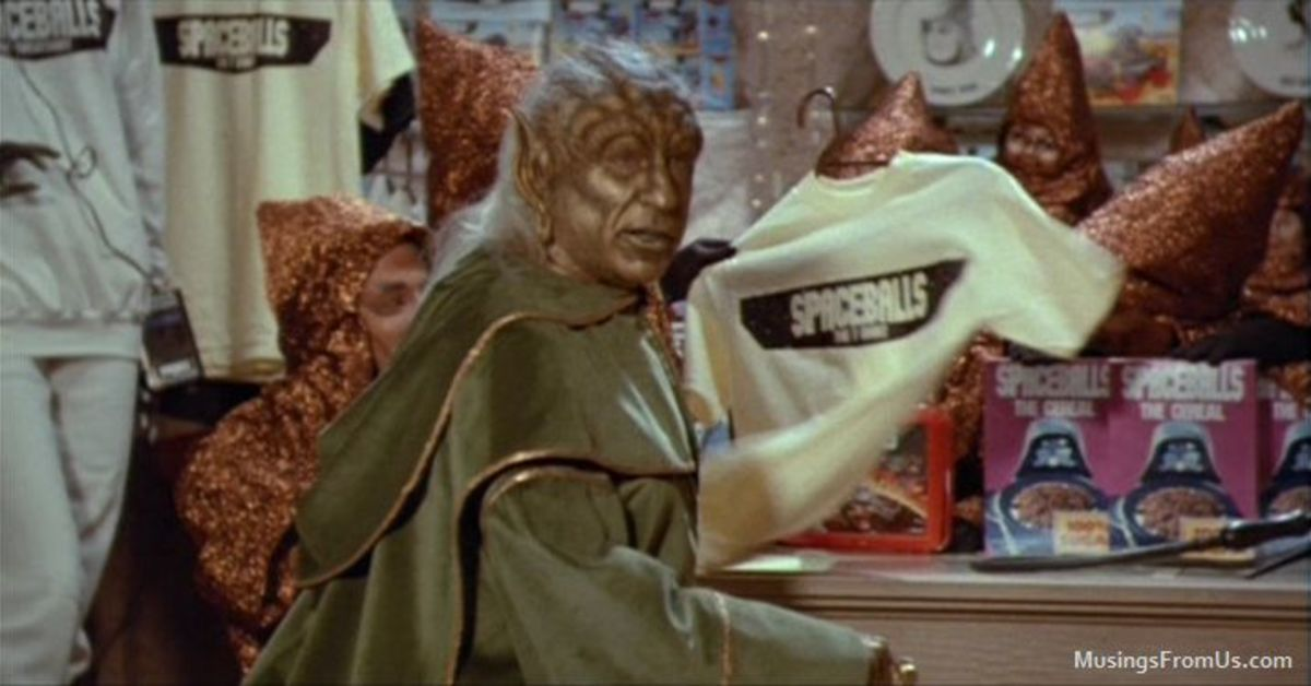 The film also pokes fun at the relentless merchandise produced by George Lucas, bravely tackling the sci-fi industry as a whole.