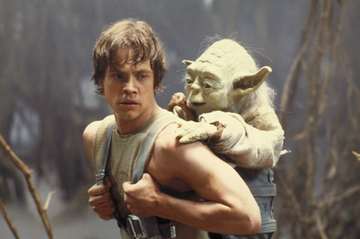 Hamill's (left) interplay with Yoda makes the wizened green one much more believable