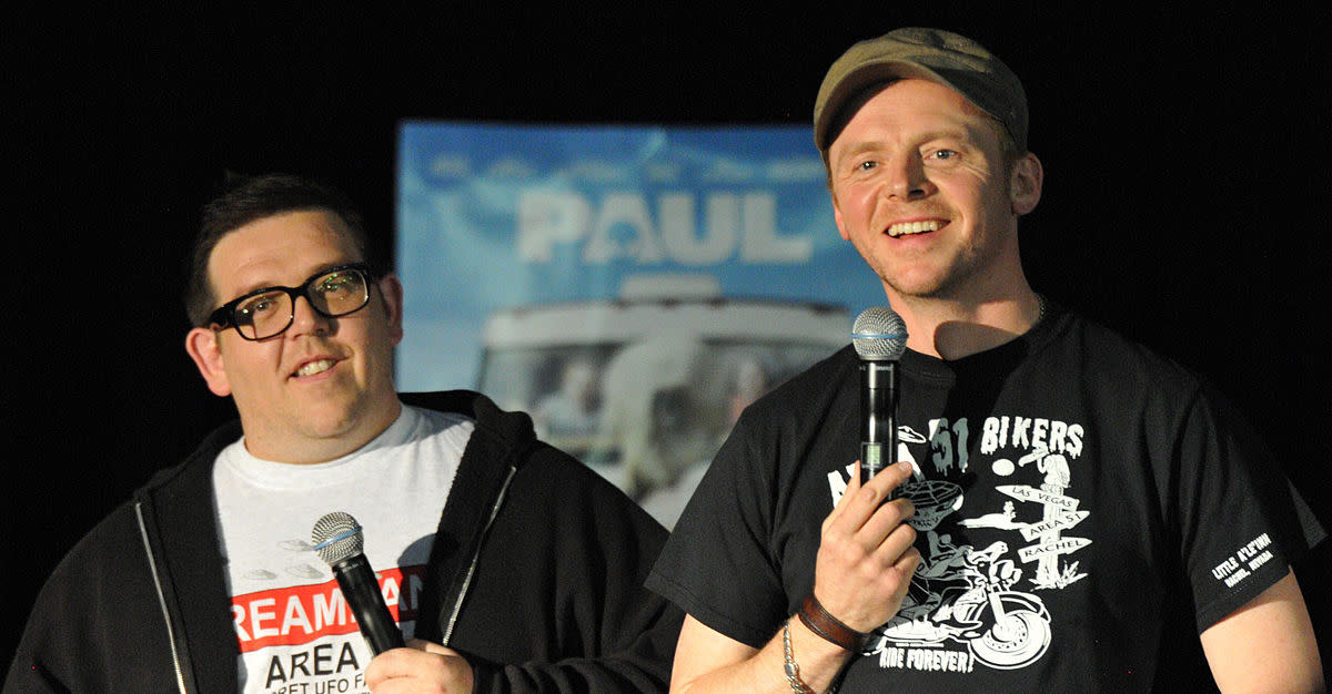 Frost (left) and Pegg (right), seen here publicising the film, remain a great comic duo and their chemistry holds the film together.