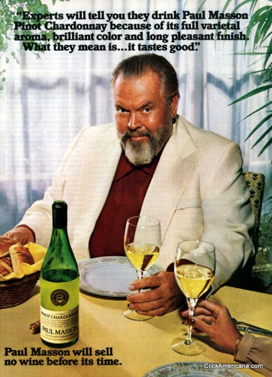 Welles as wine huckster, circa 1981; a far cry from the rising genius of the cinema that he had been 40 years earlier