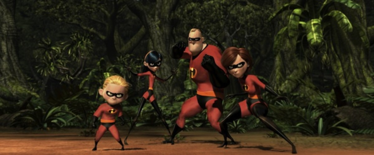 (from left to right) Dash, Violet, Bob and Helen Parr - ready to dispense justice, the Incredible way...