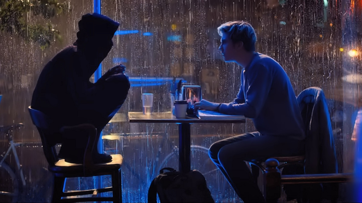 Lakeith Stanfield as L and Nat Wolff as Light Turner in 'Death Note' (2017), a Netflix adaptation.