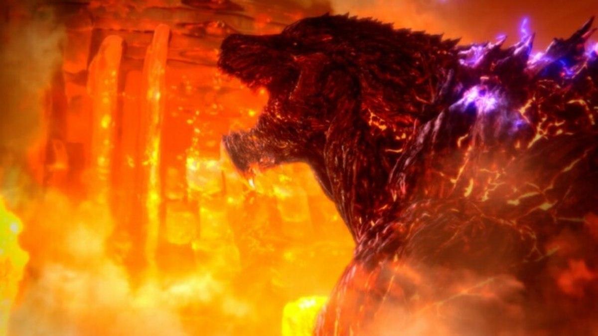 Godzila attacking the Mecha Godzilla city.