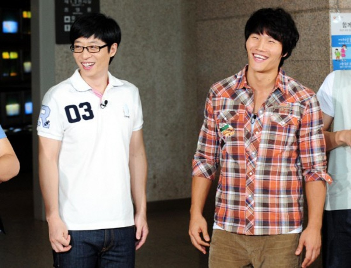 Yoo Jae Suk with his long-time TV rival (and real life friend) Kim Jong Kook, a.k.a. The Commander