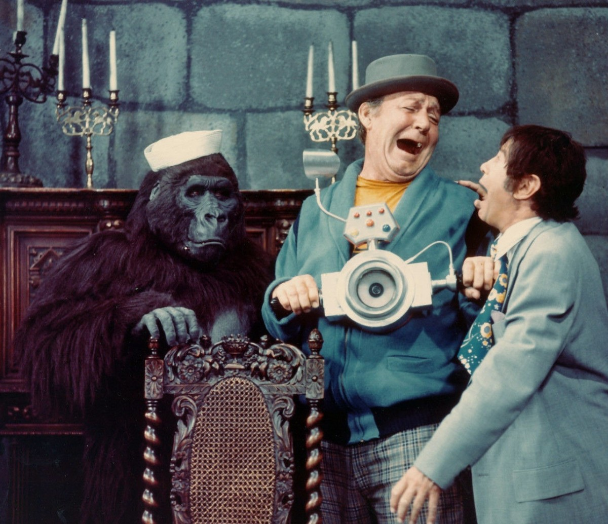 A fun publicity pose with Larry Storch and Forrest Tucker and Bob Burns in his gorilla suit.