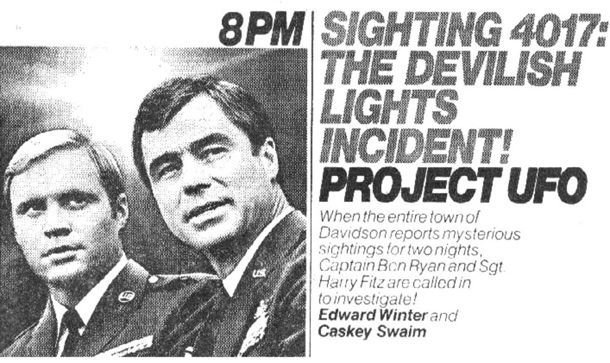 TV Guide Ad for episode for the Devilish Davidson Lights Incident airing on September 28, 1978.