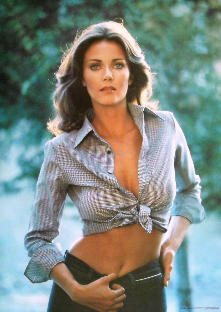 "Lynda Carter's ""belly button"" poster. Graced the back cover of her debut solo album Portrait"