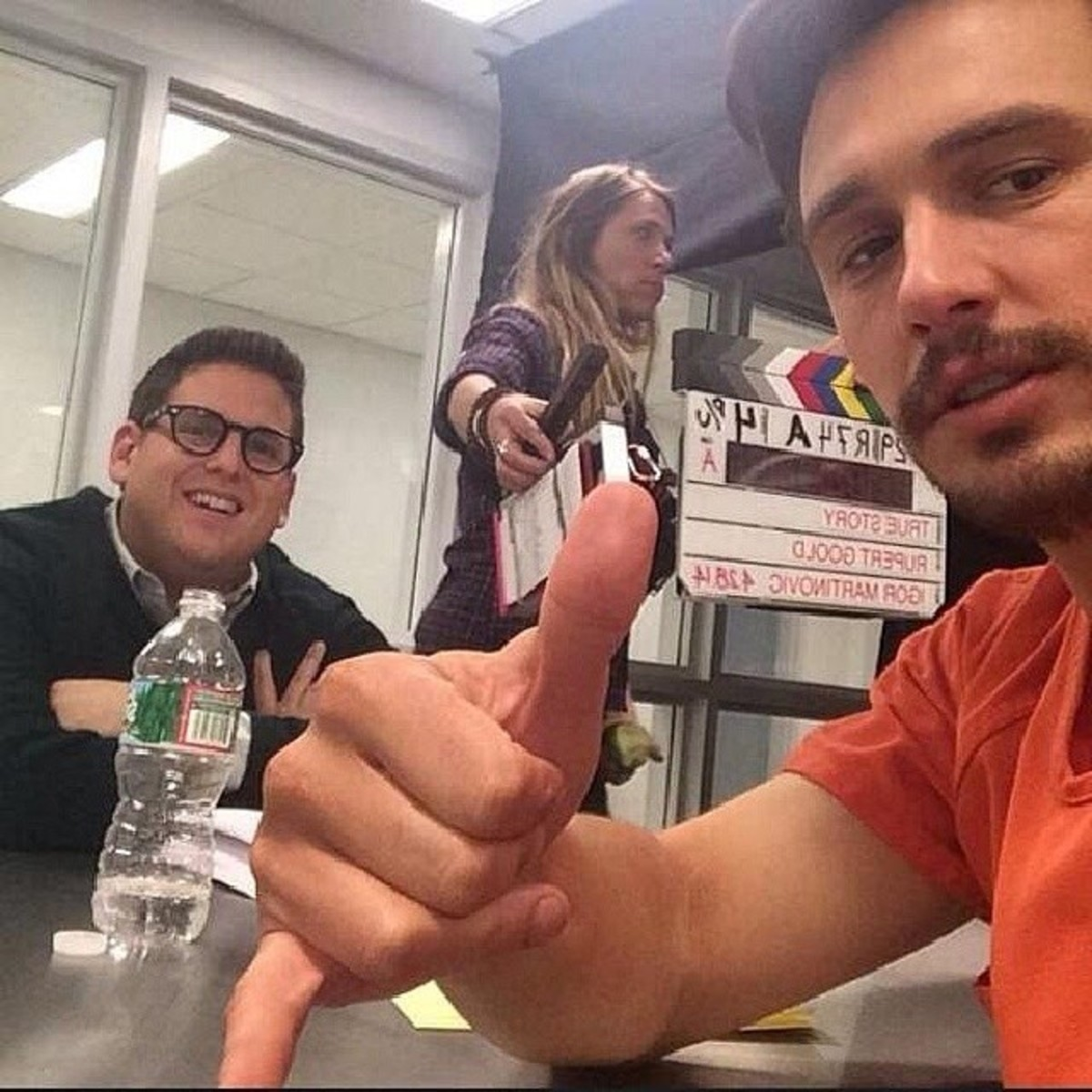 James Franco with Jonah Hill on set