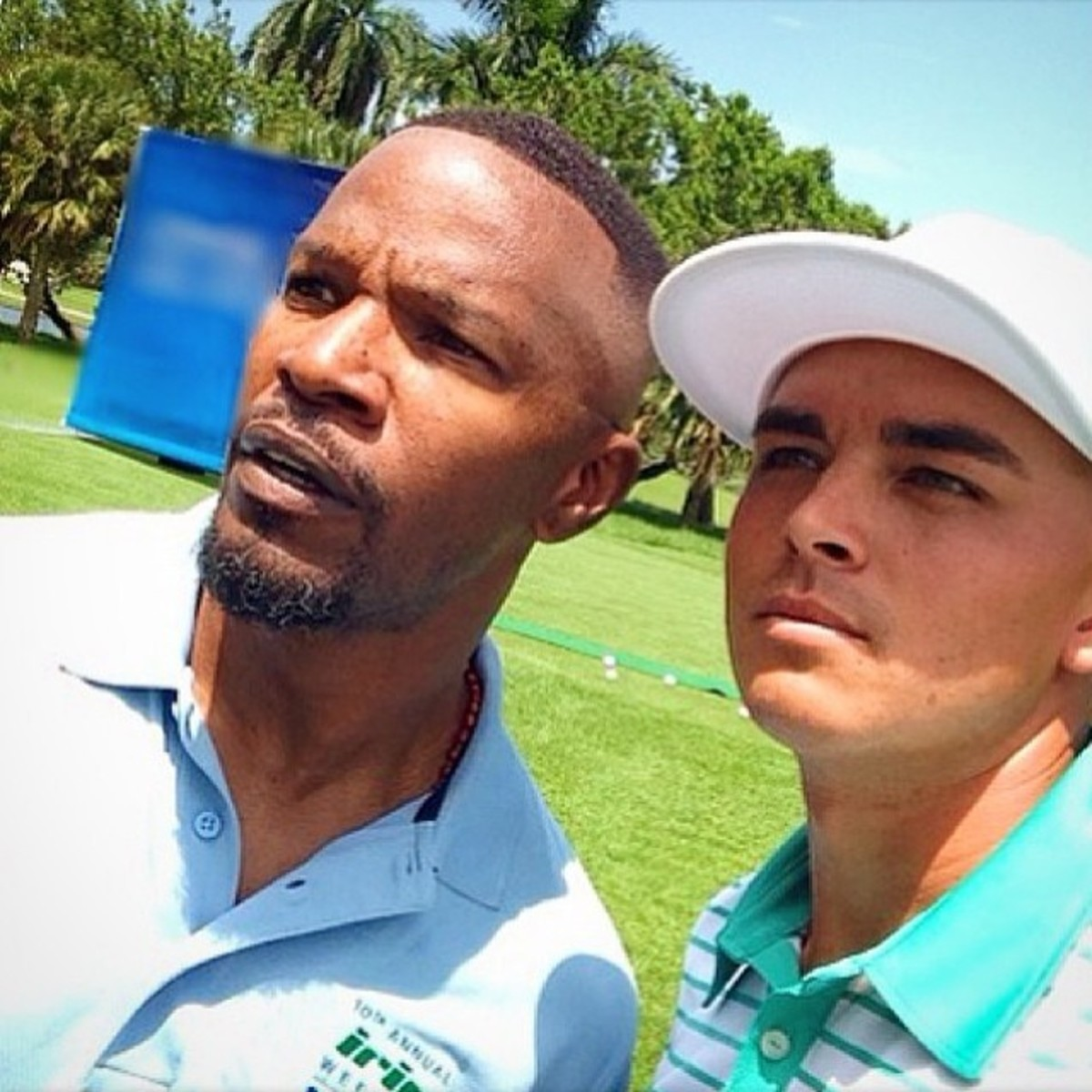 Jamie Foxx getting golf tips from Rickie Fowler