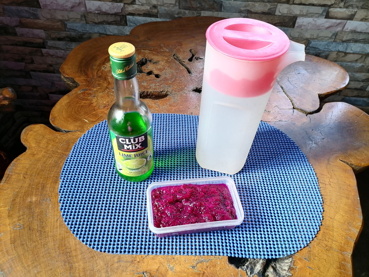 Ingredients for a dragon fruit and lime virgin cocktail