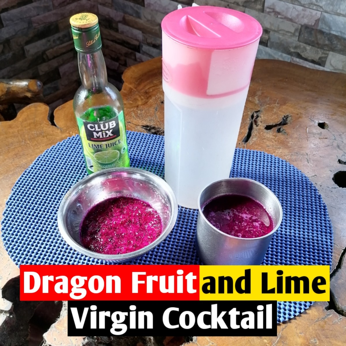 Dragon fruit and lime virgin cocktail
