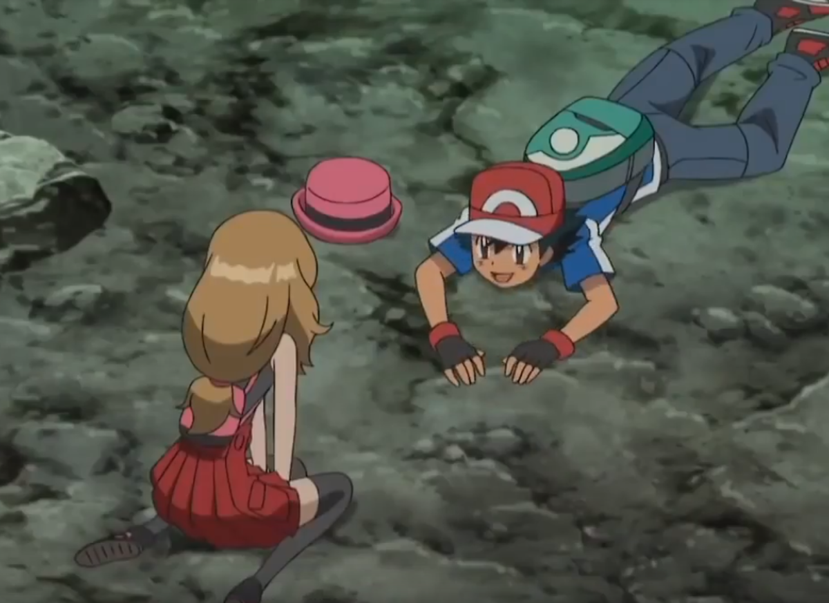 Ash and Serena in the ravine