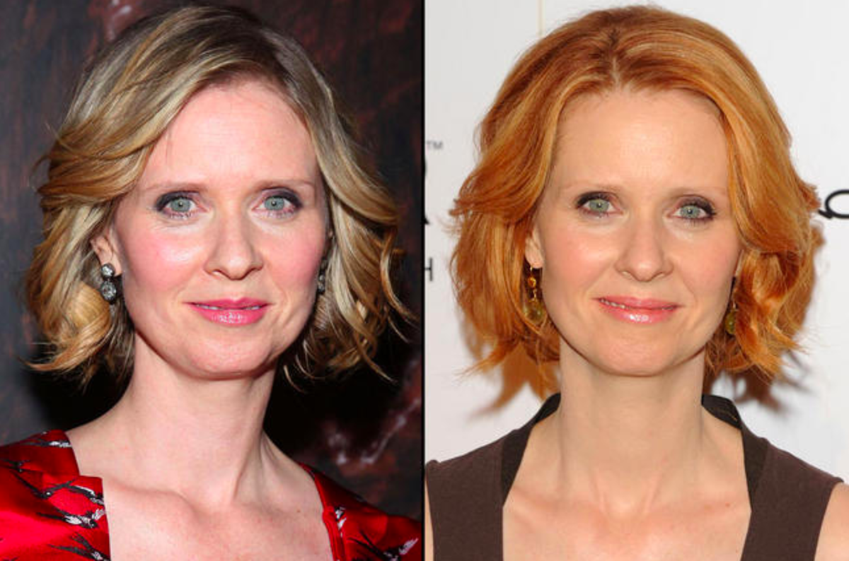 Cynthia Nixon (Miranda) rocking both blonde and red hair.