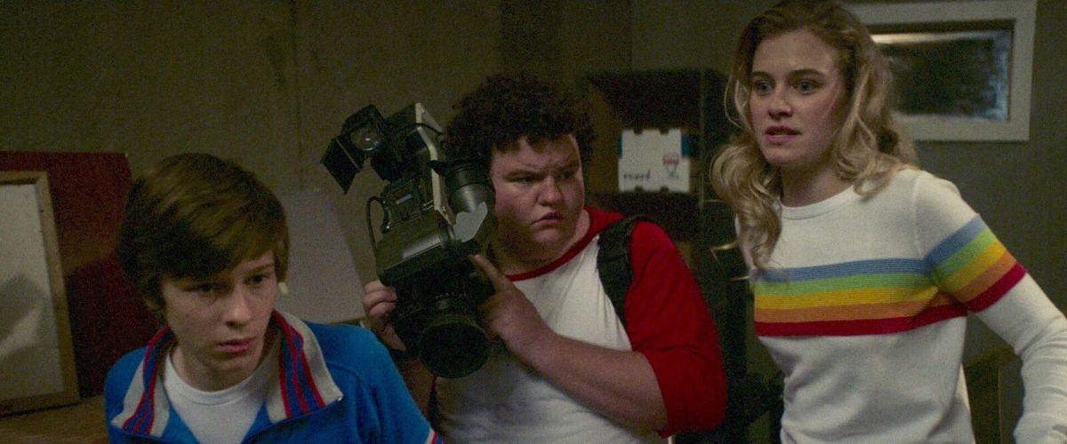 "Graham Verchere, Caleb Emery, and Tiera Skovbye as Davey, Eats, and Nikki in, ""Summer of 84."""
