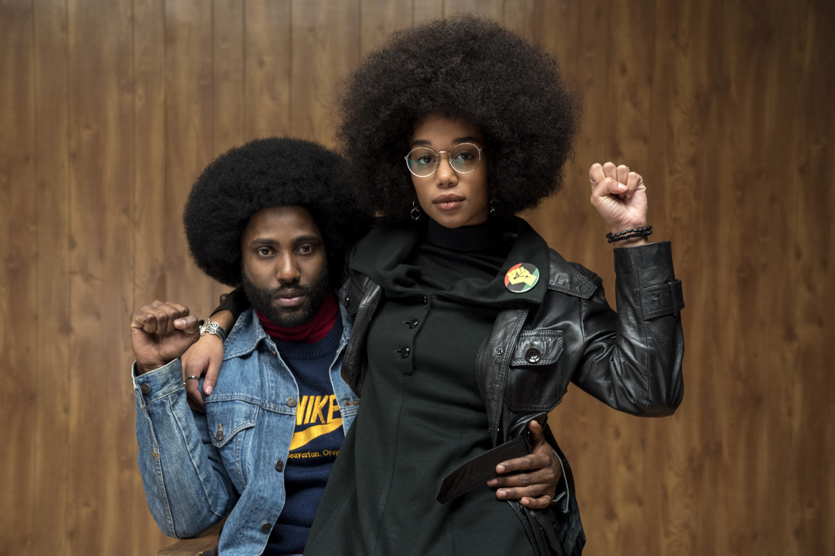 John David Washington and Laura Harrier as Ron Stallworth and Patrice Dumas in, BlacKkKlansman.""