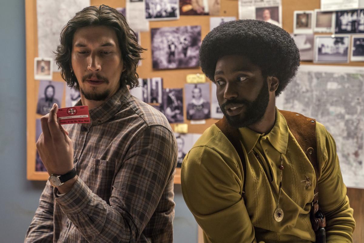 "Adam Driver and John David Washington as Flip Zimmerman and Ron Stallworth in, ""BlacKkKlansman."""