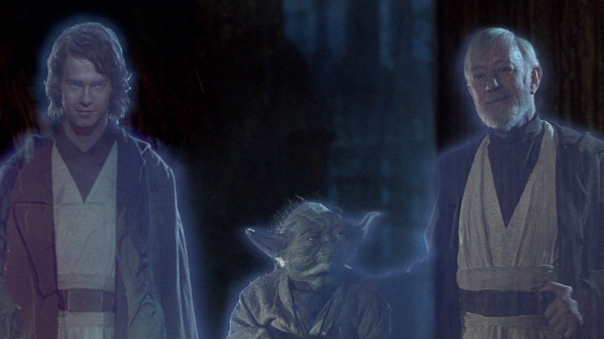 Anakin, Yoda, and Obi-Wan as Force Ghosts