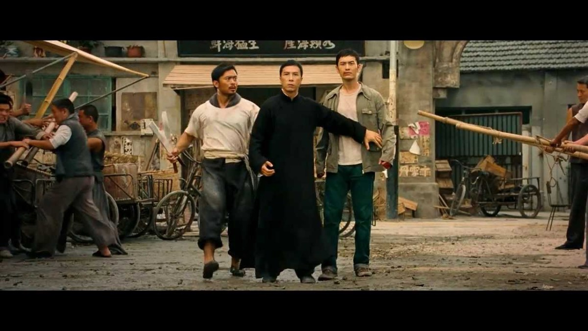 Donny Yen as Ip Man with two of his students
