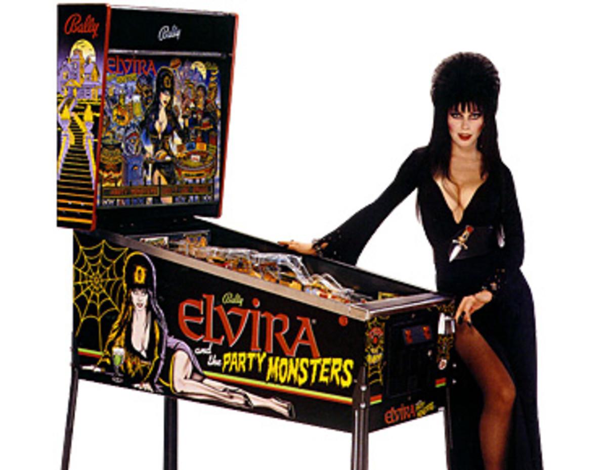 Elvira with pinball machine