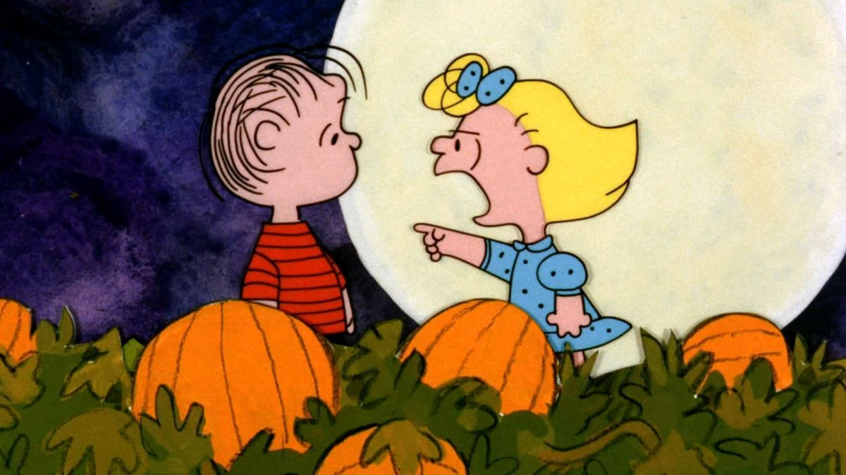 Sally yelling at Linus in pumpkin patch