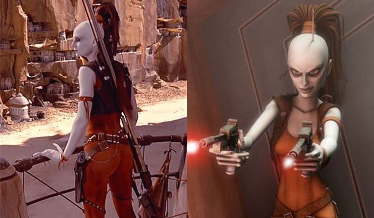 Aurra Sing in Episode 1 and The Clone Wars