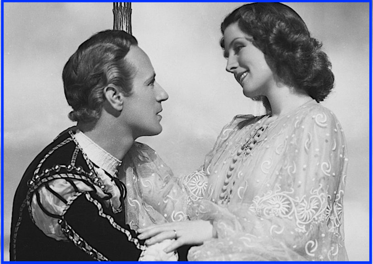 "Here are Leslie Howard and Norma Shearer in a scene from 1936's ""Romeo and Juliet.""  His many off-screen affairs gave him plenty of practice for the role of Romeo."
