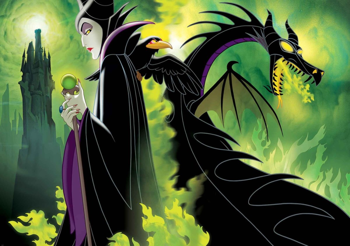 Maleficent as a human and dragon