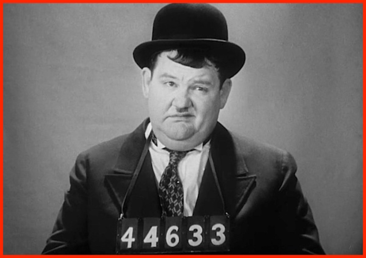 "Oliver Hardy in 1931's ""Pardon Us."""